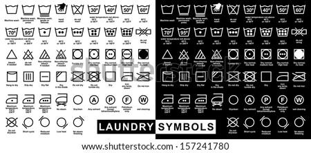 Icon set of laundry symbols, vector illustration - stock vector