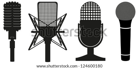 icon set of microphones black silhouette vector illustration isolated on white background - stock vector