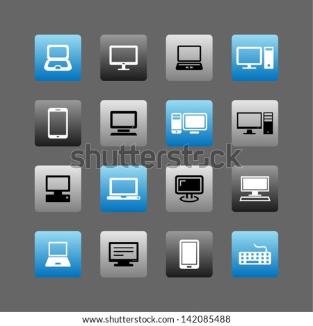 Icon set of mobile devices , computer and network connections ,Illustration eps 10.
