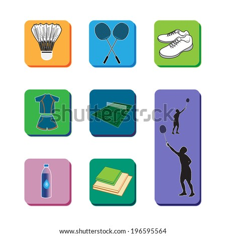 Icon set of necessary equipment for playing badminton. - stock vector