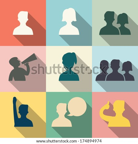 Icon set of people in communication concept, in flat design with vintage color style. Each layers are separated, easty to edit or change color.  - stock vector