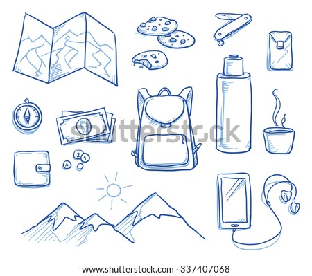 Icon set of personal items being assembled for a travel, journey, mountain hiking trip. Hand drawn vector illustration - stock vector