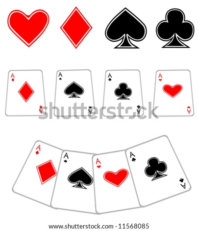 icon set of playing cards, vector