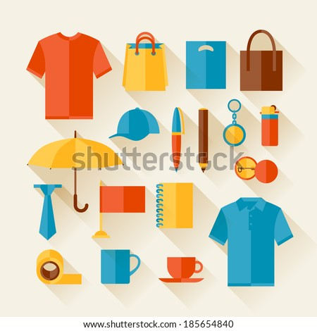 Icon set of promotional gifts and souvenirs. - stock vector