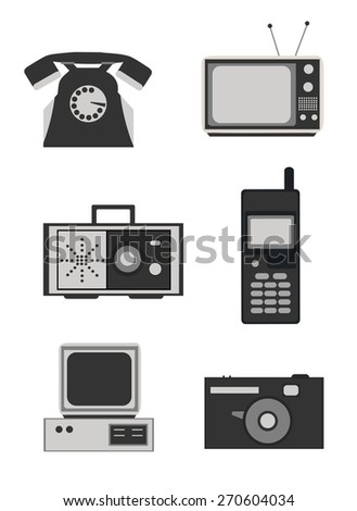 Icon set of retro electronics devices in black and white - telephone, television, radio, mobile phone, computer and camera. - stock vector