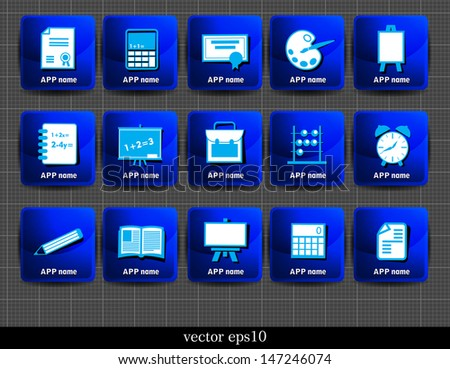 Icon set of school objects. Vector illustration - stock vector