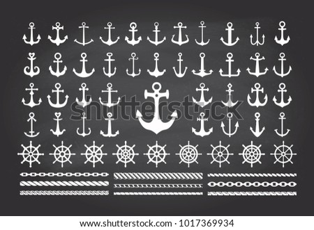 Icon set of sea theme on a blackbord background- anchors, ropes and sea wheels. Vector illustration