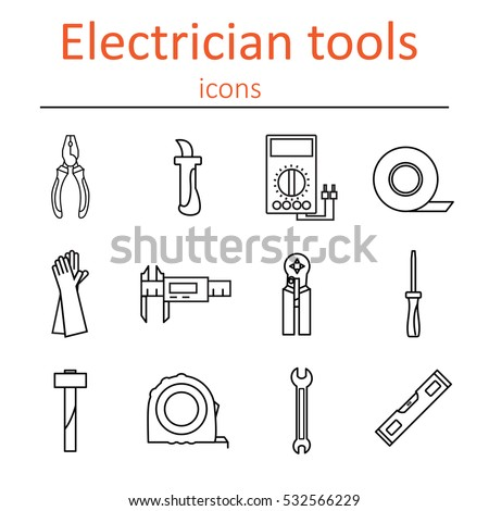 icon set tools electrician vector illustration stock vector rh shutterstock com Residential Electrical Wiring Diagrams Electrician Diagram 3D