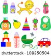 Icon Set of Toys and Accessories for Babies, Clip-Art Illustration, Vector Version - stock photo