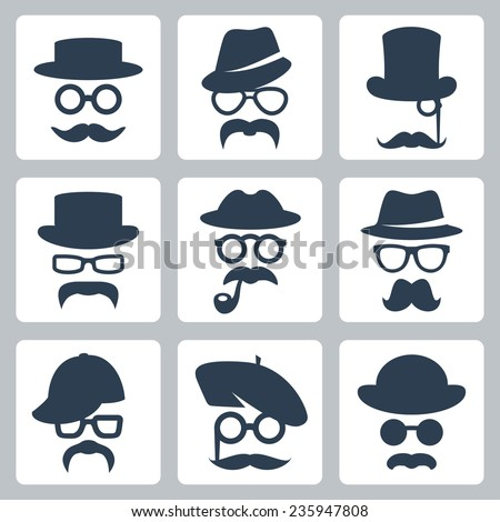 Icon set of vector mustaches, hats and glasses - stock vector