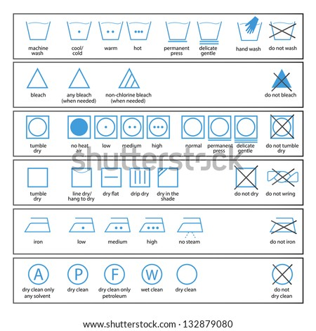 icon set of washing signs and textile care label symbols - stock vector