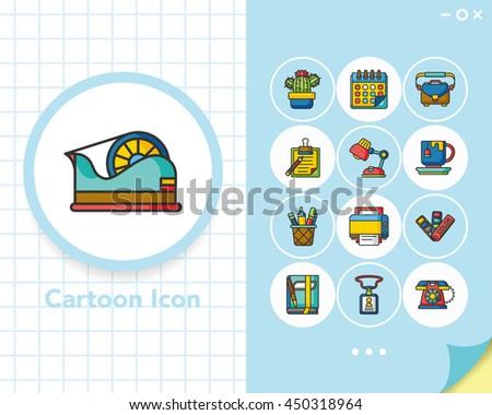 icon set office vector - stock vector
