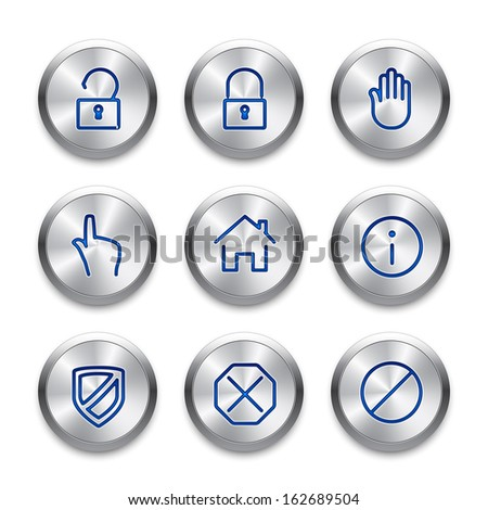 Icon set on silver buttons. Cutting edge modern icons. Fine line pixel aligned mobile ui icons.
