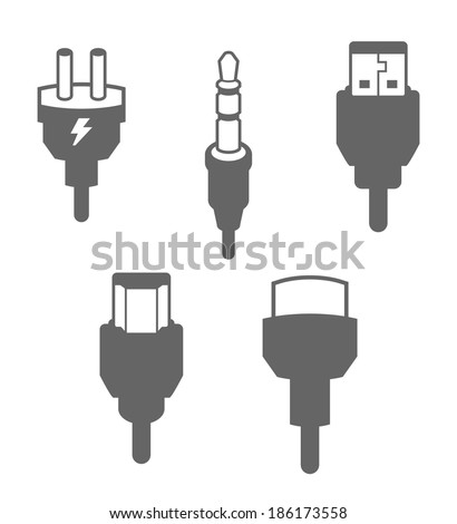 Icon Set, Plugs and Cables - stock vector