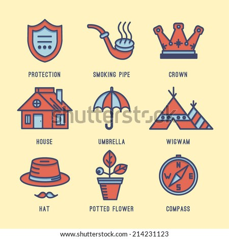 Icon set. Protection, Comfort, Tepee, Umbrella, Crown, Hat, Compass, Smoking pipe, Houseplant,House, Flower.