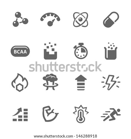 Icon set related to sport supplements effects. - stock vector