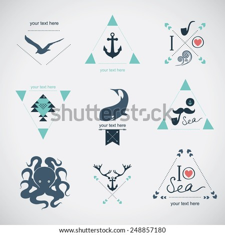 Icon set: sea, whale, mustache, stag - stock vector