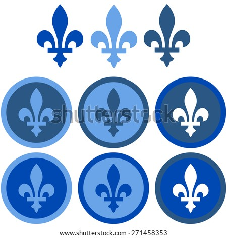 Icon set showing a fleur-de-lys in flat design using different shades of blue
