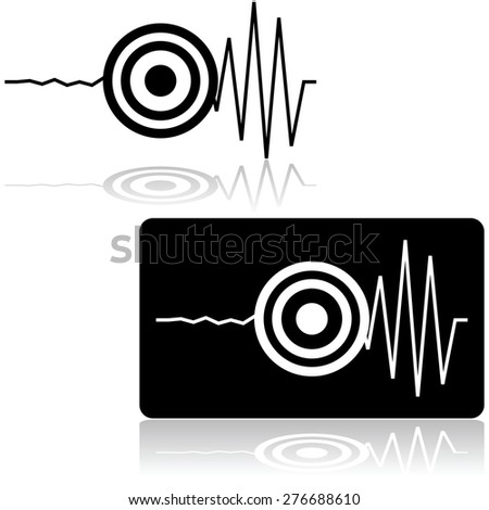 Icon set showing a line measured by a seismograph with a target signaling the start of an earthquake - stock vector