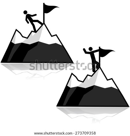 Icon set showing a man climbing a mountain and reaching its summit