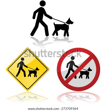 Icon set showing a person walking a dog on a leash
