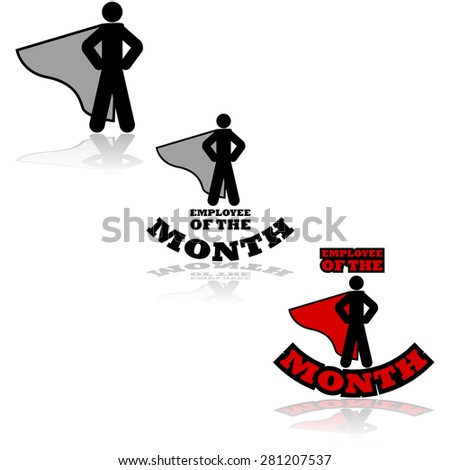 Icon set showing a person wearing a cape combined with the words 'Employee of the Month'