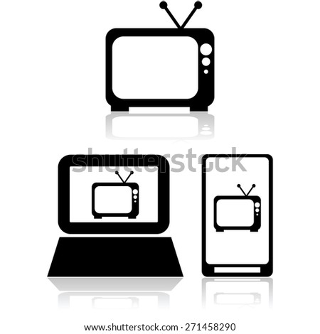 Icon set showing an old television set by itself and also inside a computer and mobile device - stock vector