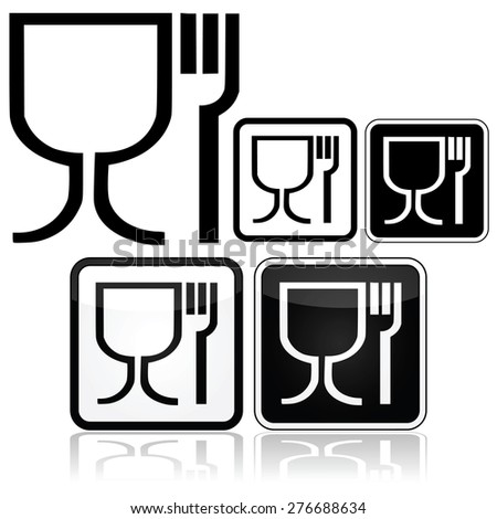 Icon set showing different design styles for the food safe symbol - stock vector