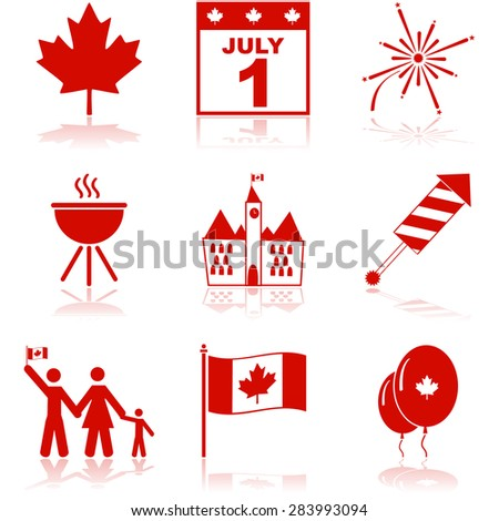 Icon set showing elements related to Canada and the Canada Day celebrations