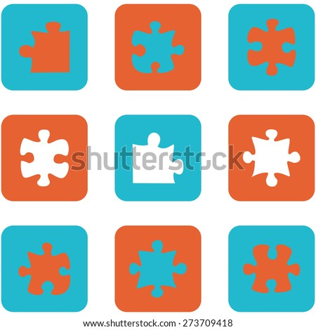 Icon set showing flat design buttons with puzzle pieces - stock vector