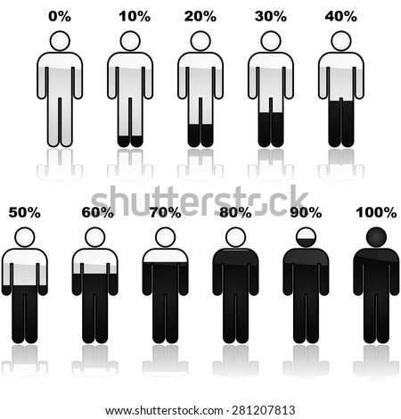 Icon set showing parts of a person shaded black and the percentage it represents. Great for infographic use.