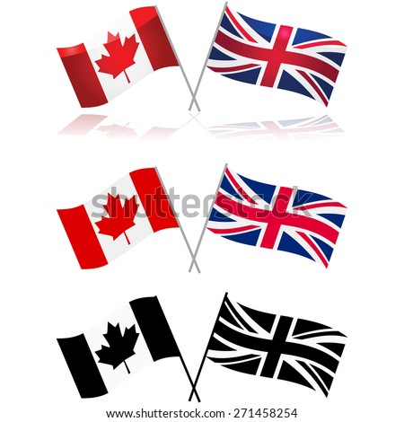 Icon set showing variations of the Canadian and United Kingdom flags side by side - stock vector