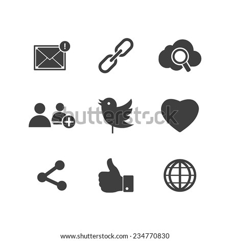 Icon set social network with links Twitter bird cloud mail as Hand chain connects people chat a global network of like heart and contacts in vector illustration - stock vector