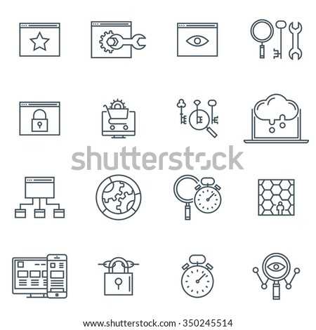 icon set suitable for info graphics, websites and print media. Black and white flat line icons. - stock vector