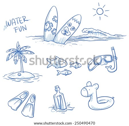 Icon set summer beach holidays, vacation with surfboard, palm tree, fish, swimming toy, snorkel, flippers and message in a bottle. Hand drawn doodle vector illustration. - stock vector