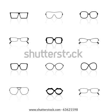 Icon Set, Sunglasses - stock vector