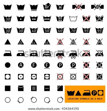 Icon set / symbols. For  washing  laundry / ironing /clothing care . Separate. Illustration. - stock vector