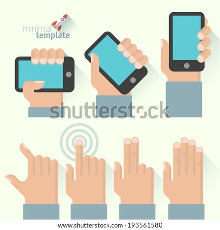 Icon set tablets and gadgets and touch-screen display gestures. Vector illustration. - stock vector