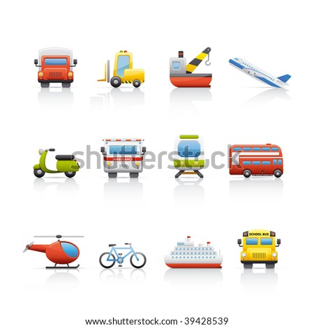 Icon Set - Transport. Set of icons on white background in Adobe Illustrator EPS 8 format for multiple applications. - stock vector