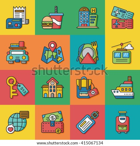 icon set travel vector