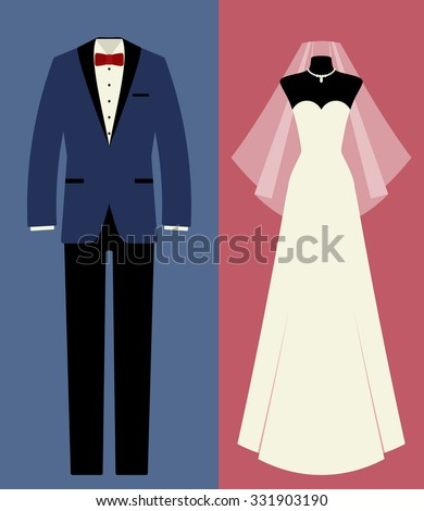 Icon set: tuxedo, wedding dress, veil and jewelry (necklace). Flat vector just married couple: groom and bride. Background with isolated elements for design of invitation card for marriage ceremony. - stock vector