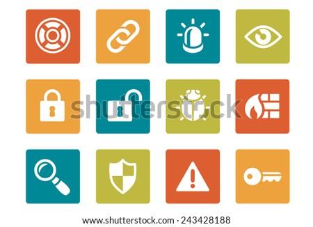 Icon Set - Vibrant square - Security - Illustration - stock vector