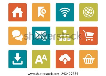 Icon Set - vibrant square - Web - Illustration - stock vector