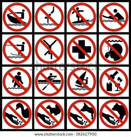 Icon Set water and nature. Prohibitory signs with the image of forbidden items or prohibited situations.