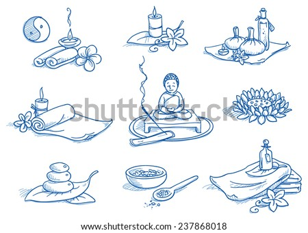 Icon set wellness, spa, meditation, with lotus flower, candles, towels, buddha, bath salt, leafs and flowers. Hand drawn doodle vector illustration. - stock vector