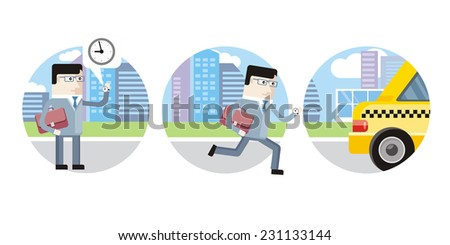 Icon set with businessman late for work and decided to catch a taxi on white background - stock vector