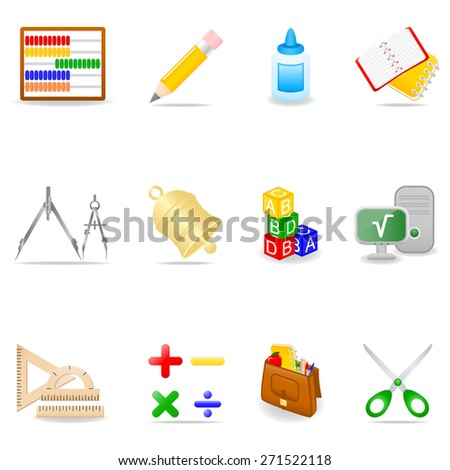 Icon set with school symbols - stock vector