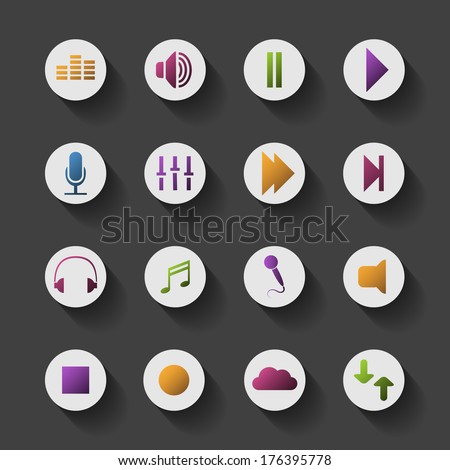 Icon Set with Shadow and Colorful Design - Music Content - stock vector