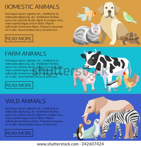 Icon set with silhouettes of pets, farm and wild  animals in flat design cartoon style. Isolated horizontal banners vector illustration. - stock vector