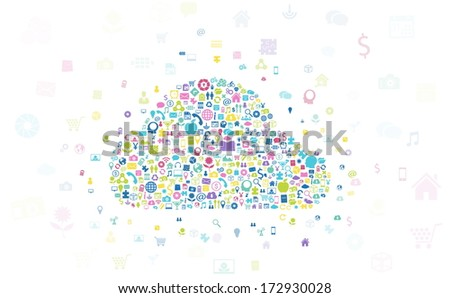 Icon shape Cloud with global communication